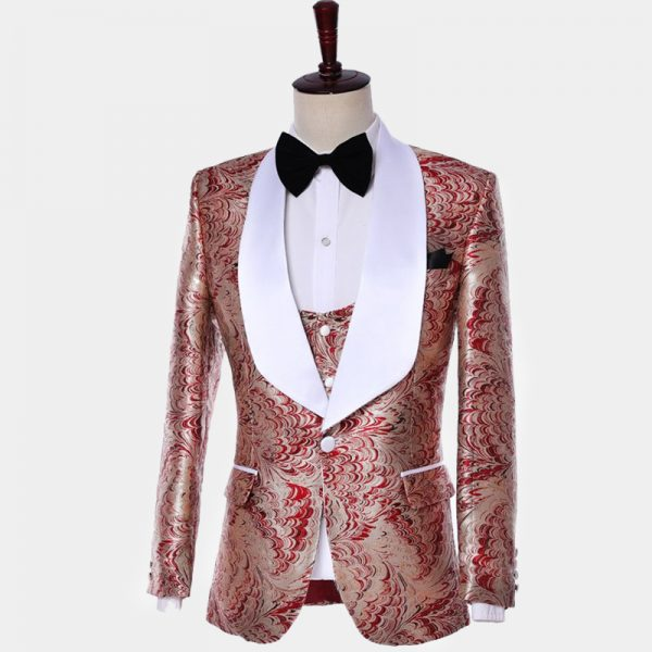 Red And Champagne Wedding Tuxedo from Gentlemansguru.com
