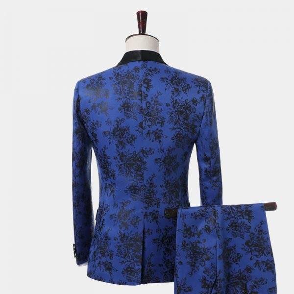 Royal Blue And Black Tuxedo With Floral Print Patterned from Gentlemansguru.com