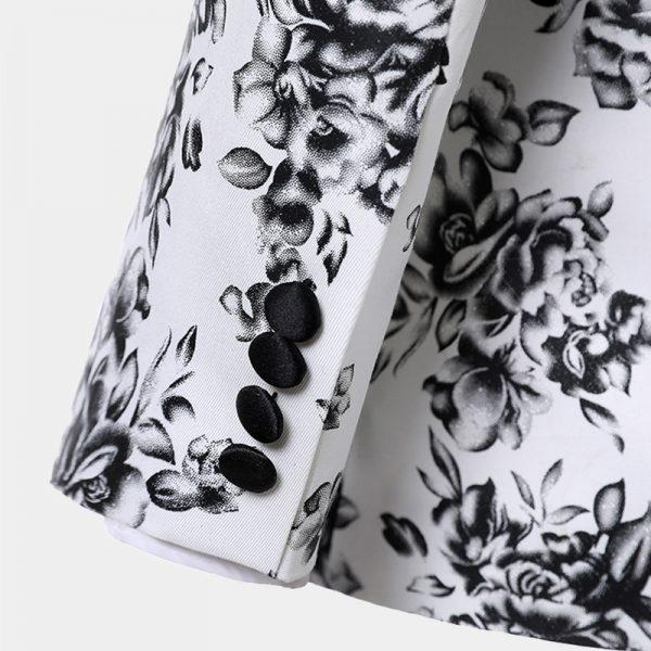White And Black Groom Wedding Tuxedo Suit from Gentlemansguru.com