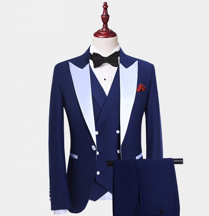 White And Navy Blue Tuxedo Suit from Gerntlemansguru.com