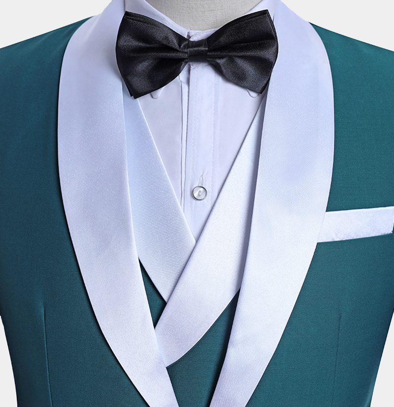 White And Teal Tuxedo Suit from Gentlemansguru.com