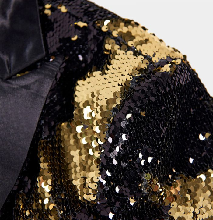 Black And Gold Sequin Tuxedo Tail Coat Style Prom-Wedding- from Gentlemansguru.com