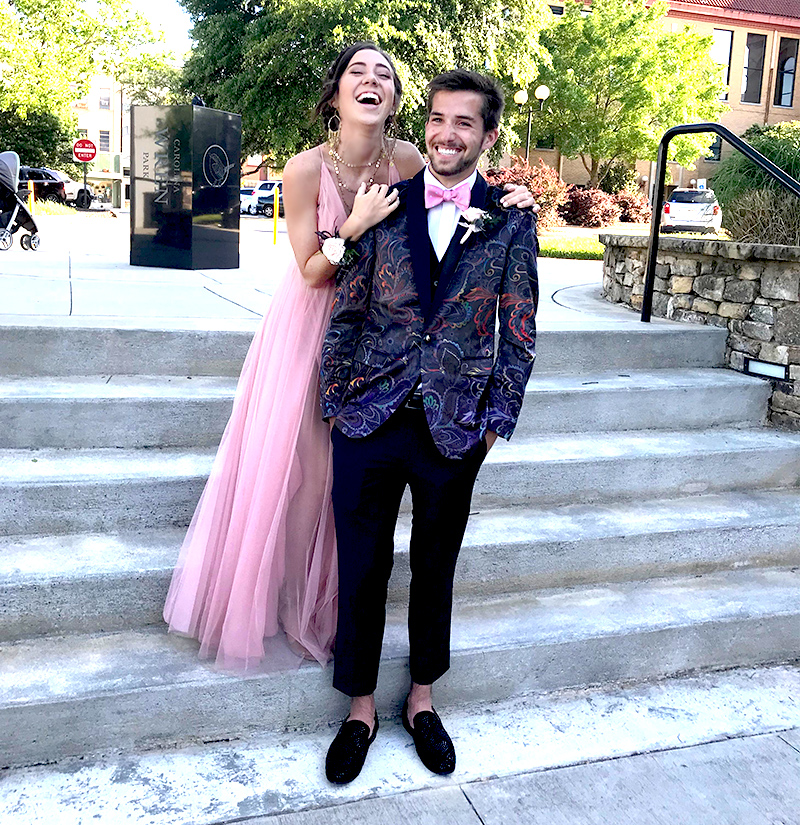 Customer Gallery-Prom-Couple-paisley-tux-jacket-+rhinestone-loafers from Gentlemansguru.com