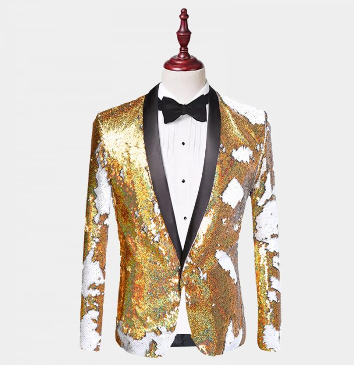 Gold And White Sequin Tuxedo Jacket from Gentlemansguru.com