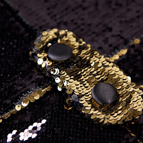 Sequin Black And Gold Sparkly Tuxedo Jacket from Gentlemansgur.com