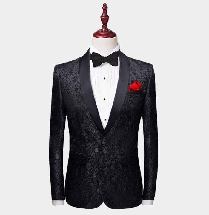 Black Paisley Tuxedo Jacket from-Gentlemansguru.com