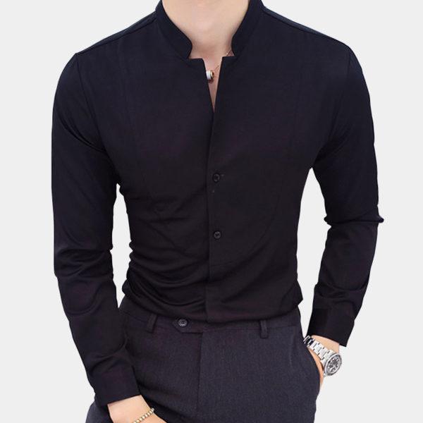Chinese-Black-Mandarin-Collar-Shirt-from-Gentlemansguru.com