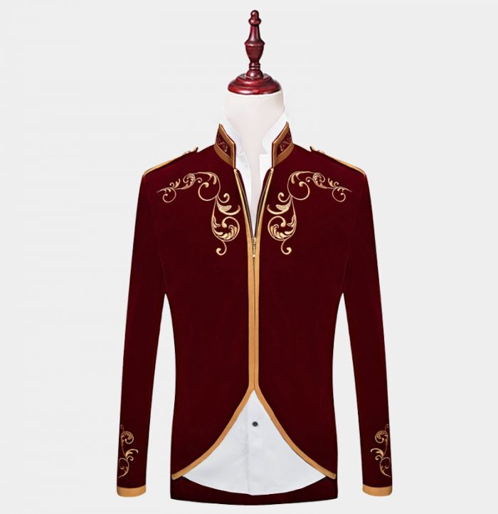 Mens-Burgundy-And-Gold-Mandarin-Collar-Jacket-from-Gentlemansguru.com
