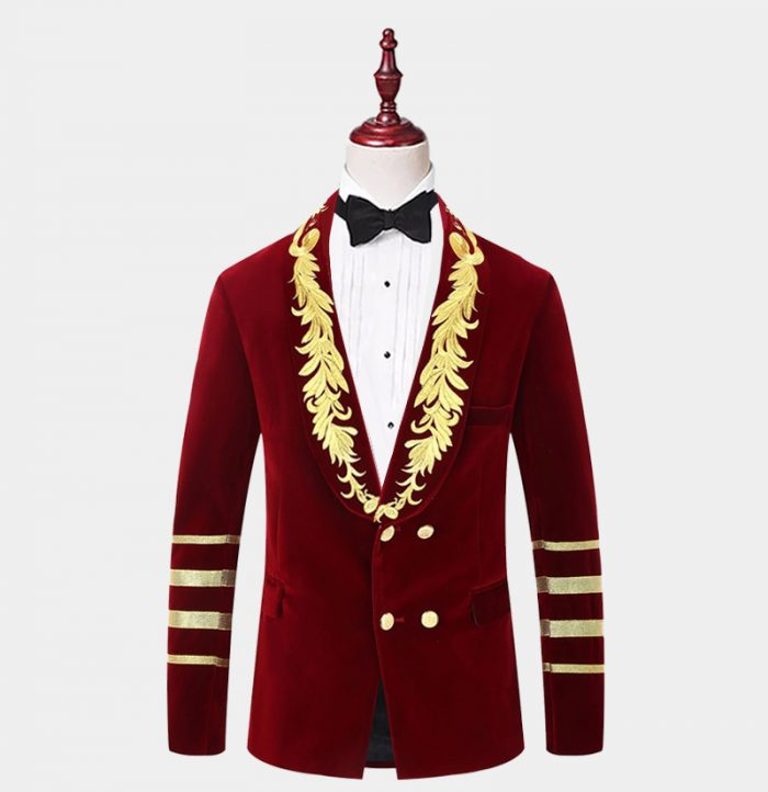 Mens-Burgundy-Velvet-Gold-Embroidered-Tuxedo-Jacket For-Prom-Wedding-from-Gentlemansguru.com