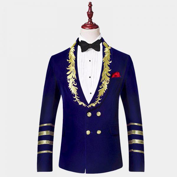 Mens-Royal-Blue-Velvet-Gold-Embroidered-Tuxedo-Jacket For-Prom-Wedding-from-Gentlemansguru.com