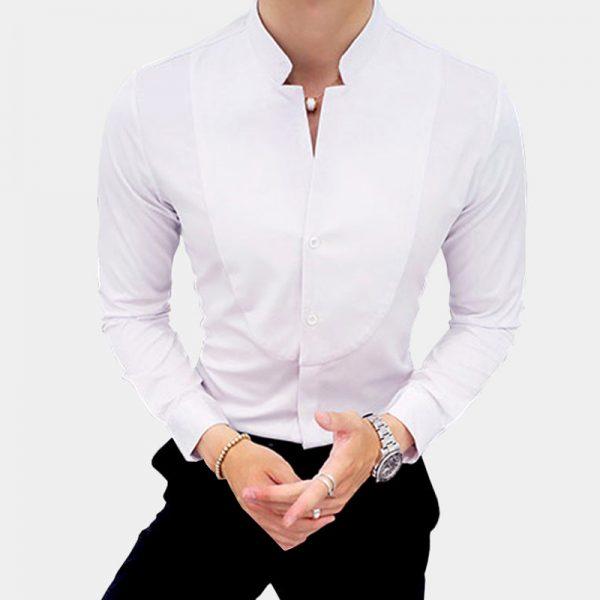 Mens-White-Mandarin-Collar-Shirt-Gentlemansguru.com