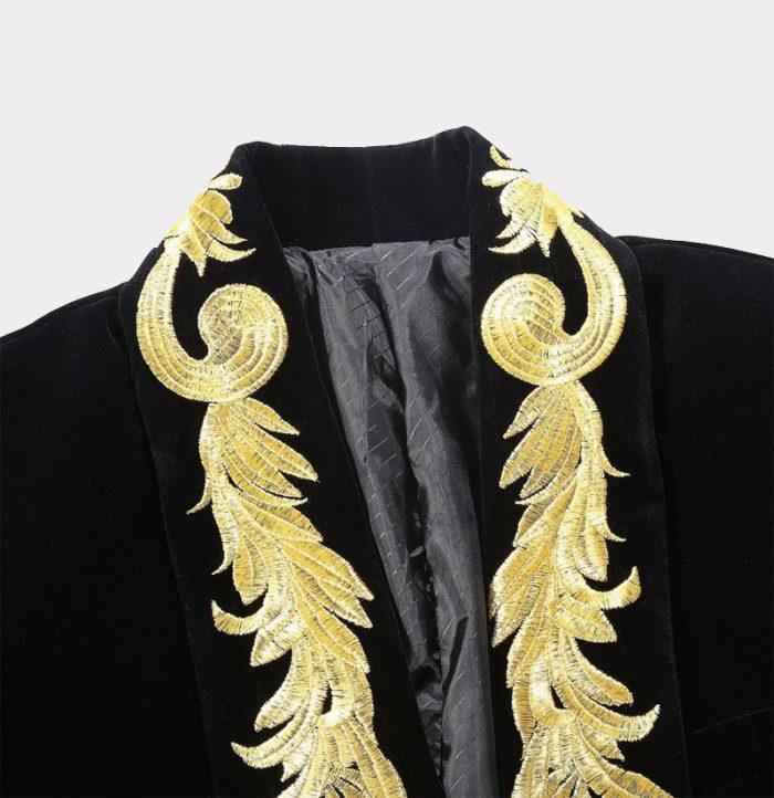 Prom-Black-Velvet-Tuxedo-Jacket-With-Gold-Embroidered-Collar-Wedding-Jacket-from-Gentlemansguru.com