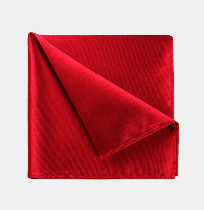 Red-Pure-Silk Pocket-Square from-Gentlemansguru.com
