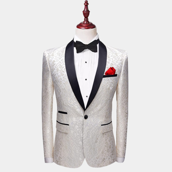 White Paisley Tuxedo Jacket from-Gentlemansguru.com