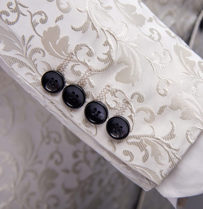 White Wedding Paisley Tuxedo Jacket Blazer from-Gentlemansguru.com