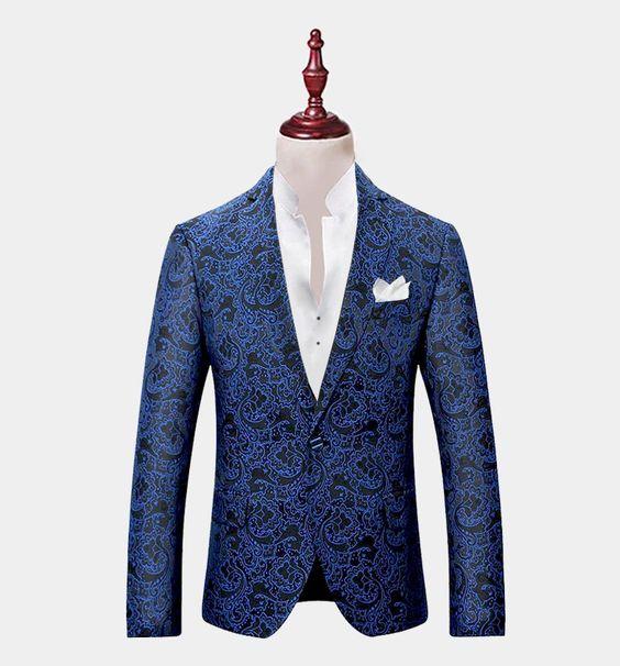 mens blue paisley blazer