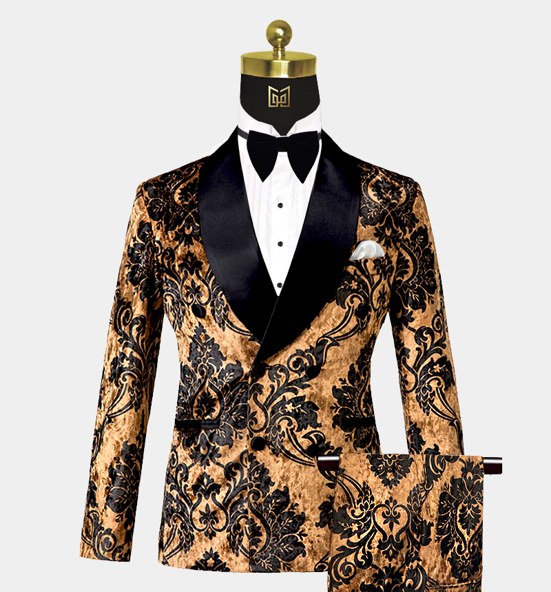 Mens-Black-and-Gold-Tuxedo-Wedding-Prom-Suit-from-Gentlemansguru.com