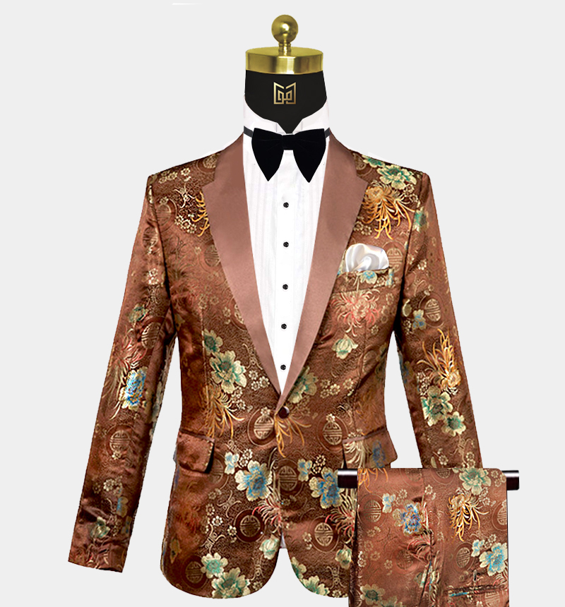 Mens-Brown-Floral-Tuxedo-Wedding-Prom-Suit-from-Gentlemansguru.com