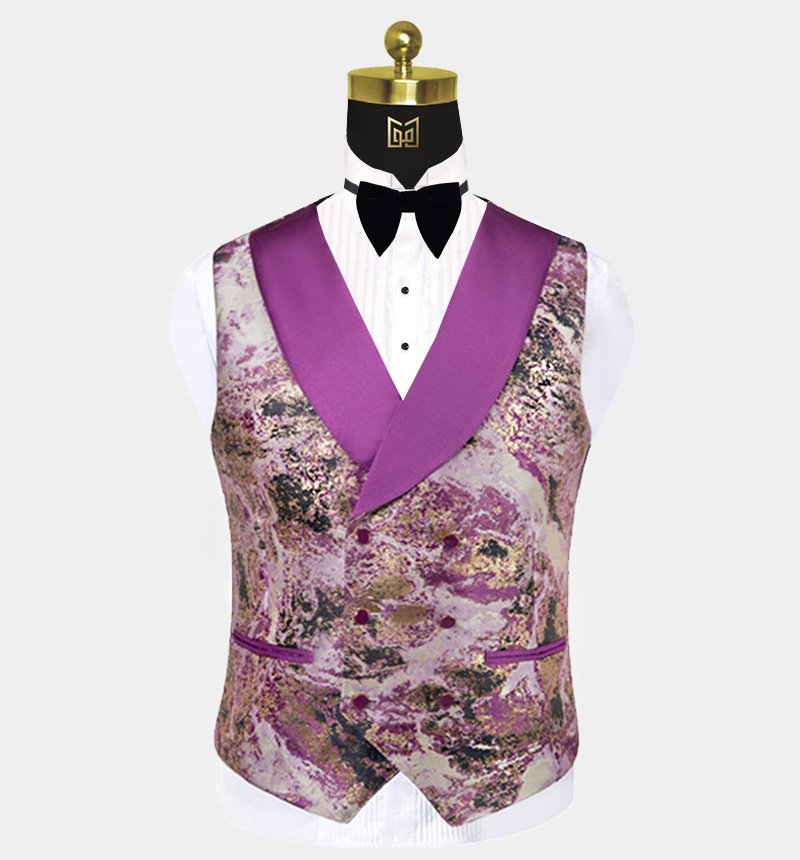 Purple-and-Gold-Tuxedo-Vest-Wedding-Waistcoat-from-Gentlemansguru.com