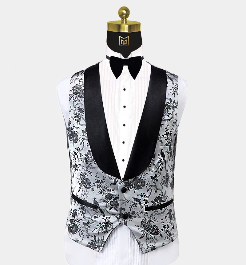 Silver-Floral-Tuxedo-Vest-Wedding-Waistcoat-from-Gentlemansguru.com