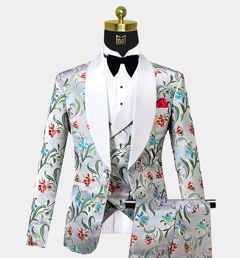 Silver-Floral-Tuxedo-Wedding-Prom-Suit-from-Gentlemansguru.com