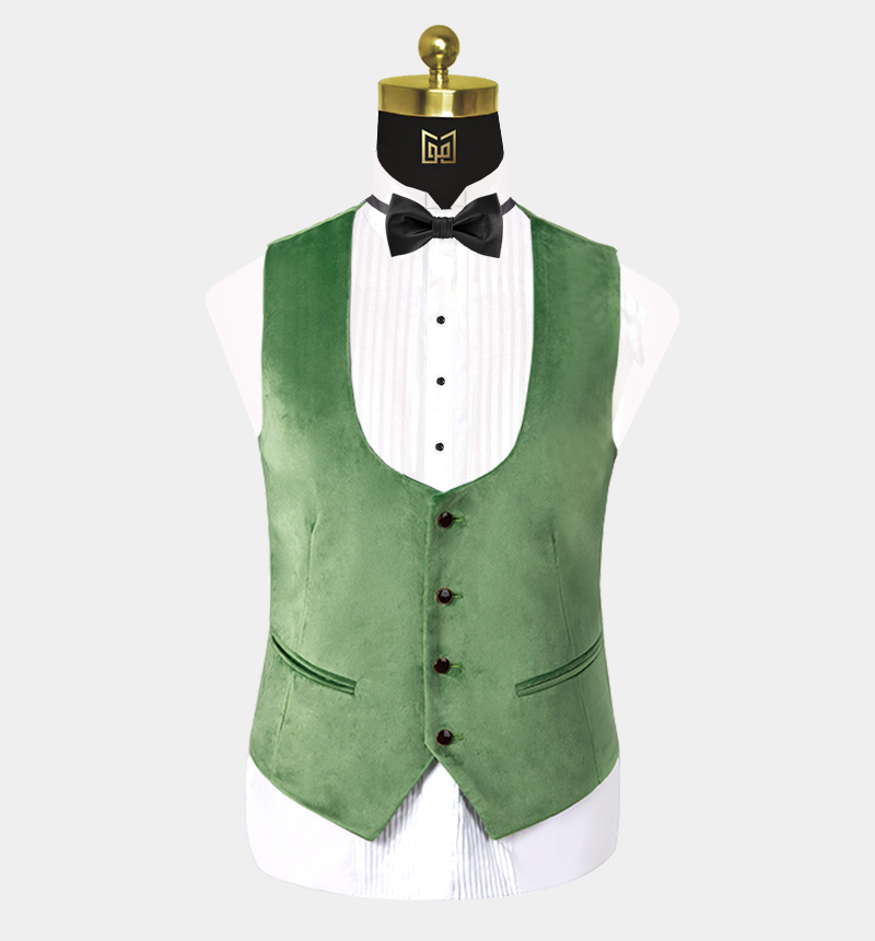 Green-Velvet-Tuxedo-Vest-Wedding-Waistcoat-from-Gentlemansguru.com