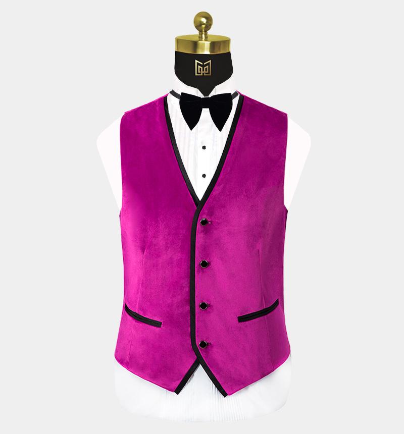 Mens-Pink-Velvet-Tuxedo-Vest-Wedding-Waistcoat-from-Gentlemansguru.com