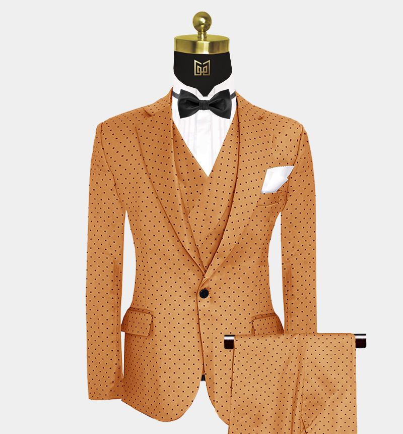 Burnt-Orange-Polka-Dot-Suit-Wedding-Prom-Outfit-from Gentlemansguru.com