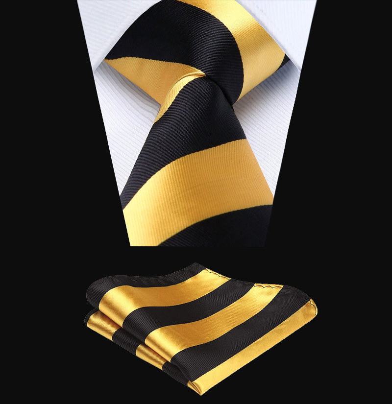 Black-and-Gold-Striped-Tie-Set-from-Gentlemansguru.com
