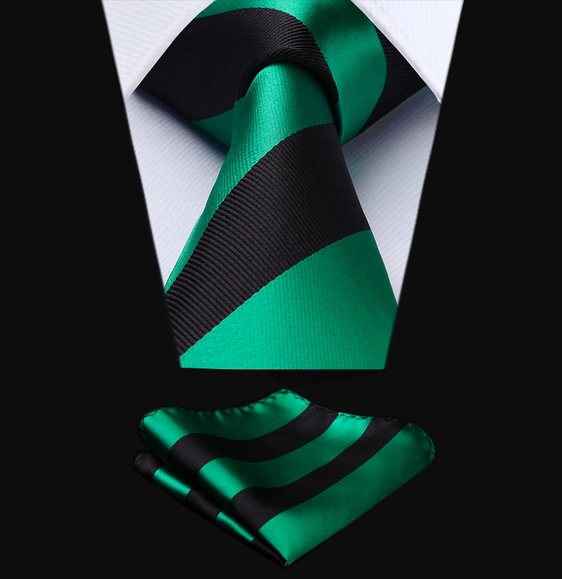 Black-and-Green-Striped-Tie-Set-from-Gentlemansguru.com