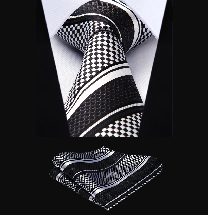 Black-and-White-Striped-Tie-Set-from-Gentlemansguru.com