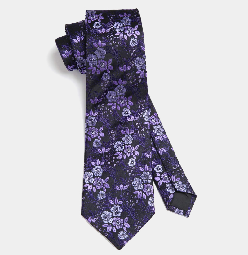 Mens-Purple-Floral-Necktie-Set-from-Gentlemansguru.com